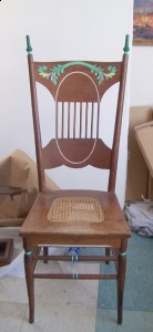 vintage oak pressed back chair