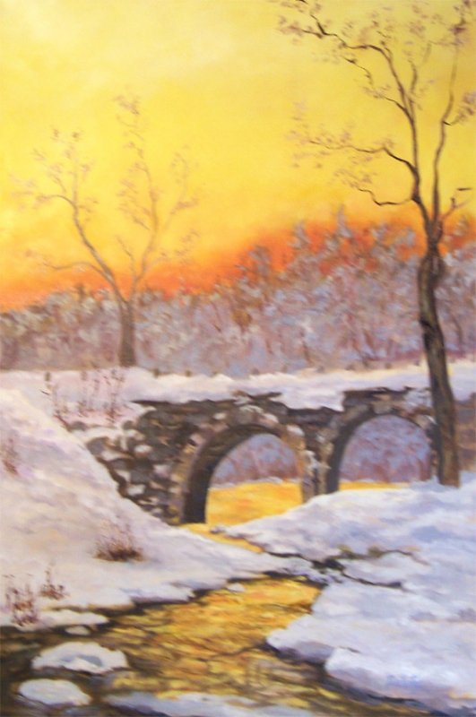 Winter Sunset - Cheshire Turnpike Bridge- SOLD